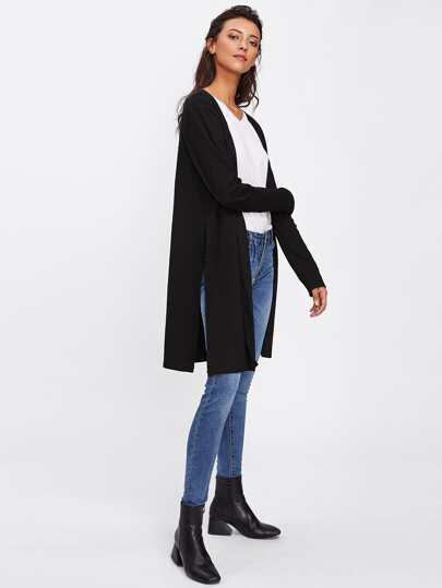 Slit Side Open Front Duster Coat