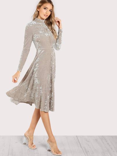 High Neck Velvet Long Sleeve Dress TAUPE