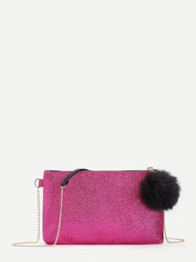 Glitter Clutch Chain Bag With Pom Pom