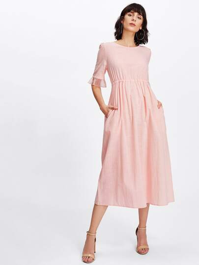 Mesh Ruffle Sleeve Pearl Drawstring Smock Dress