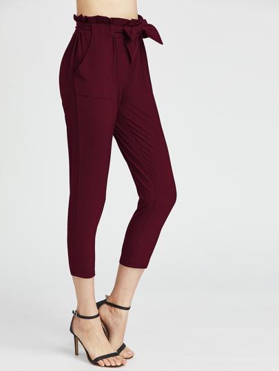 Pantalones con cinturón de cintura con volante