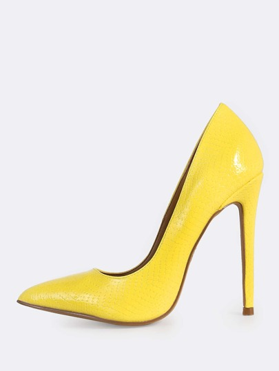 Pointy Toe Snake Printed Heels YELLOW