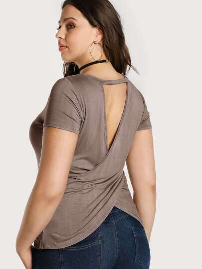 Cutout Back Fitted Tee