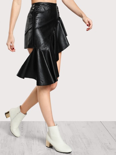 Grommet Buckle Belt Hanging Ruffle Faux Leather Skirt BLACK