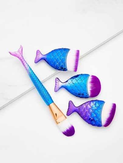 4 piezas de pinceles de maquillaje en forma de pez