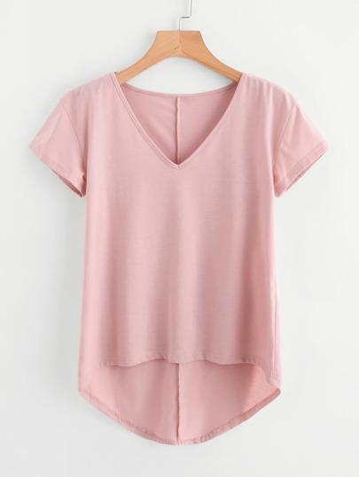 Solid Dip Hem T-shirt
