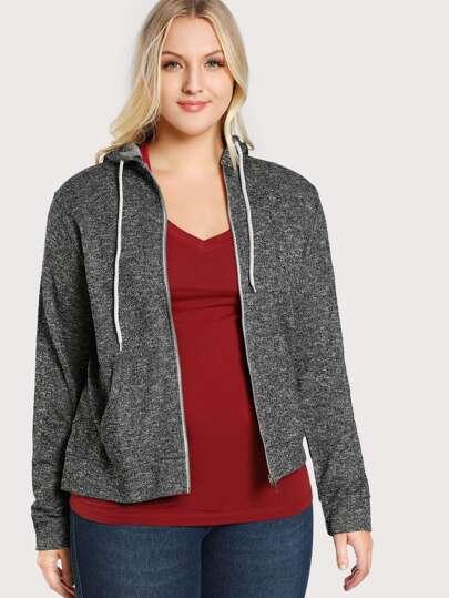 Zip Up Hoodie Terry Sweater GREY