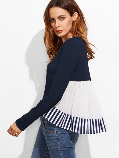 Striped Ruffle Back High Low T-shirt