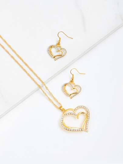 Rhinestone Double Heart Pendant Chain Necklace & Earrings