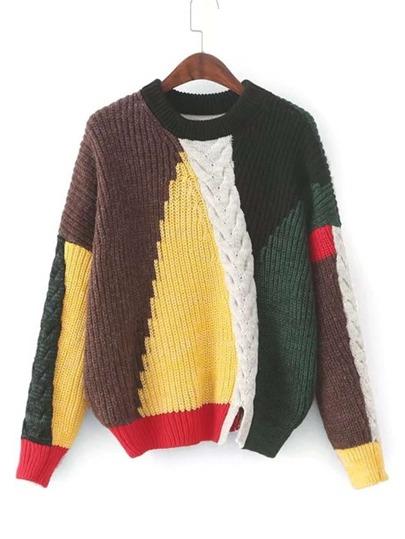 Pull color-block en tricot à câble