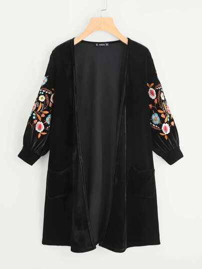 Embroidery Bishop Sleeve Open Front Velvet Cardigan