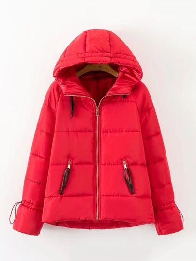 Drawstring Cuff Short Padded Coat