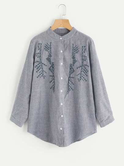 Embroidery Detail Dolphin Hem Striped Blouse