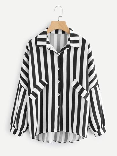 Striped Dip Hem Shirt