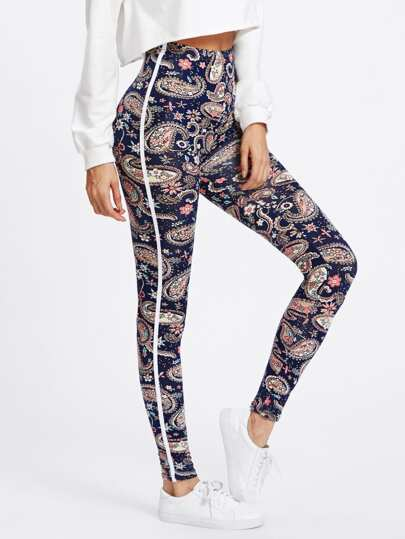Paisley Print Tape Side Leggings