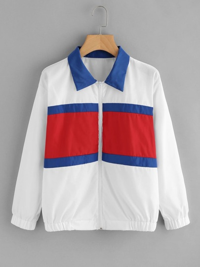 Cut And Sew Color Block Jacket