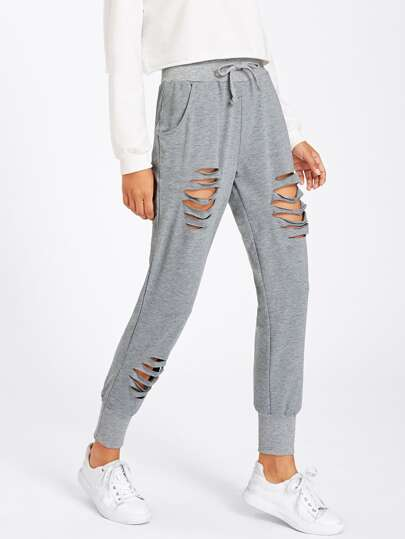 Ladder Ripped Marled Sweatpants