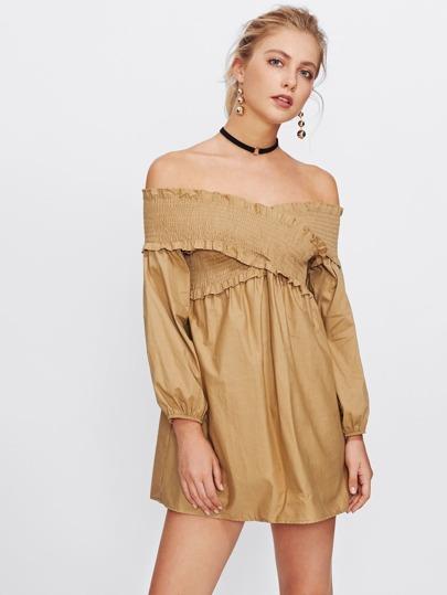 Shirred Detail Cross Bardot Dress