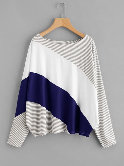 Cut And Sew Striped Batwing Tee