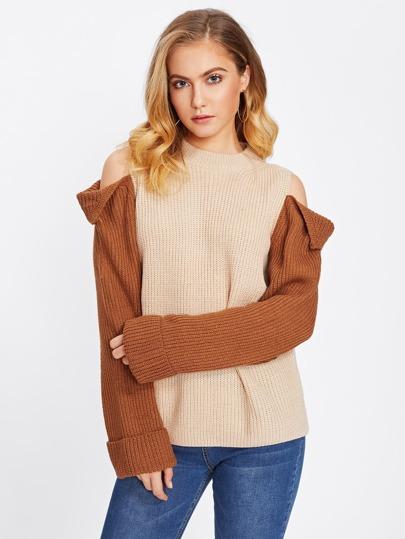 Contrast Sleeve Cold Shoulder Sweater