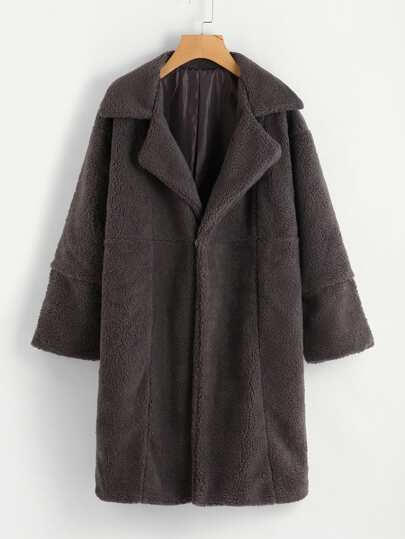 Faux Shearling Zip Cuff Coat