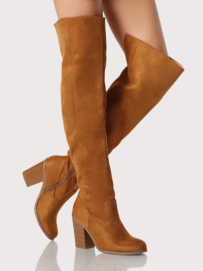 Round Toe Faux Suede Zip Up Thigh High Boots HAZEL