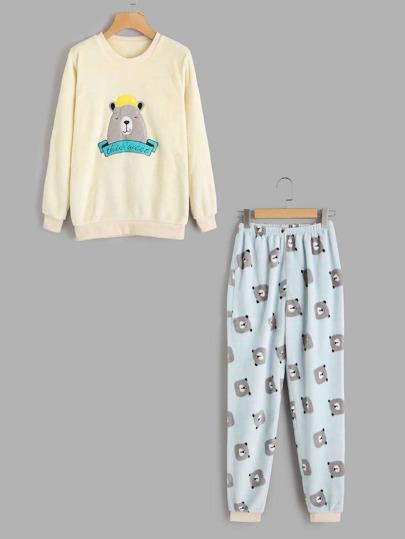 Bear Print Top And Pants Pajama Set