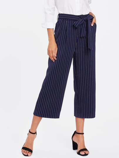 Модные широкие брюки в полоску с бантом