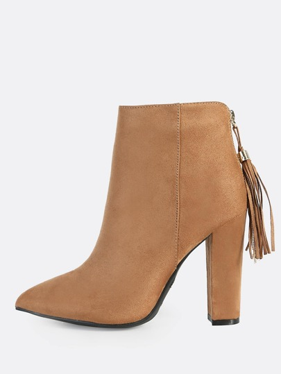 Faux Suede Booties CAMEL