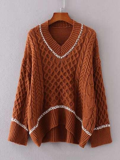 Contrast Trim Dip Hem Sweater