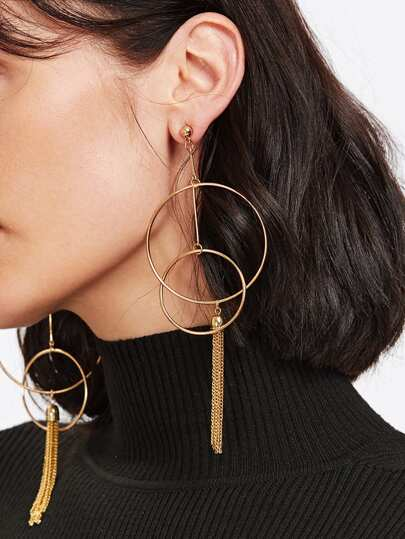 Double Open Circe & Tassel Drop Earrings