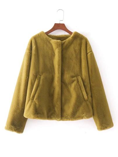 Manteau en cuir faux court sans col