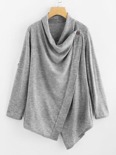 Cowl Neck Asymmetrical Hem Cardigan Sweater