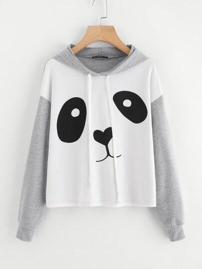 Sweat encapuchonné tricoté imprimé panda