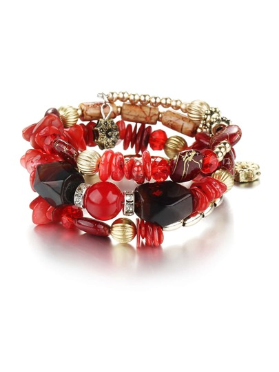Contrast Beaded Layered Bracelet