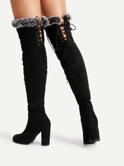 Faux Fur Trim Lace Up Suede Boots