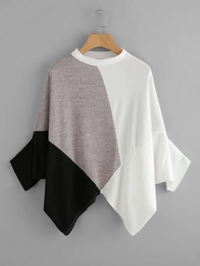 Camiseta asimétrica de color combinado