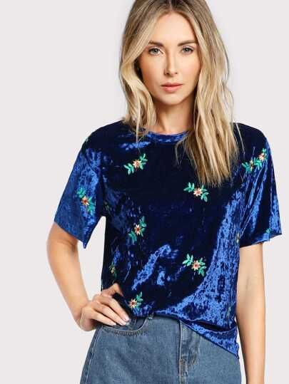 Botanical Embroidered Crushed Velvet Tee