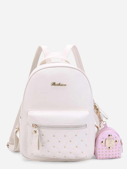 Studded PU Backpack With Mini Backpack Charm