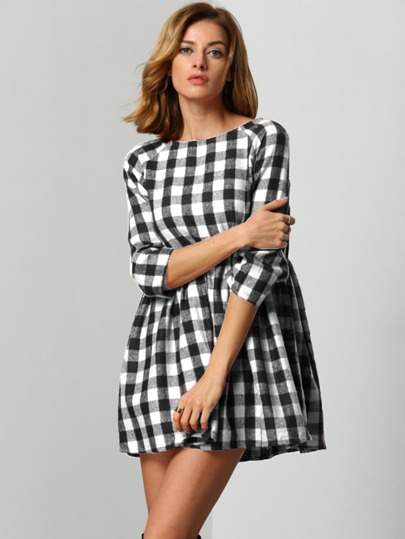 Raglan Sleeve Smock Gingham Dress