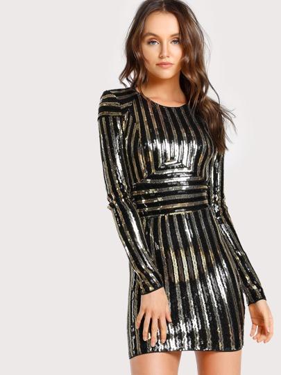 Sequin Long Sleeve Bodycon Dress BLACK GOLD