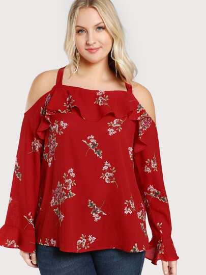 Cold Shoulder Floral Print Flowy Top RED