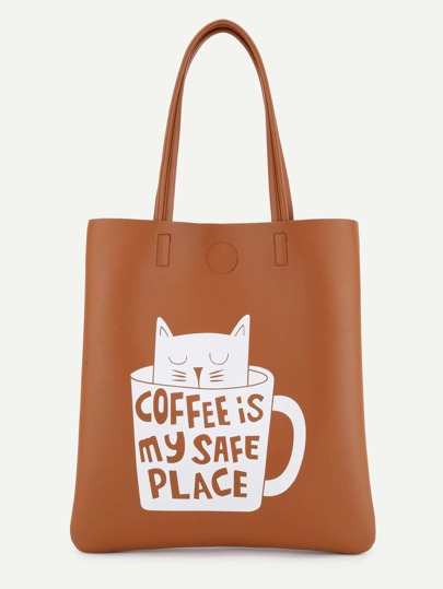 Cat & Cup Print Tote Bag