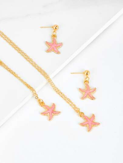 Starfish Chain Necklace & Earrings & Bracelet