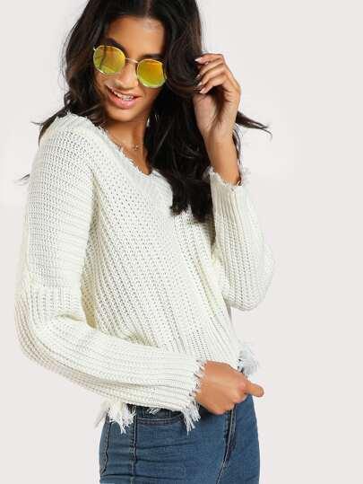 Distressed Hem Ribbed Knit Sweater IVORY