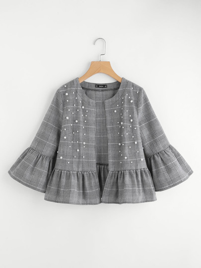 Pearl Beading Frilled Plaid Jacket