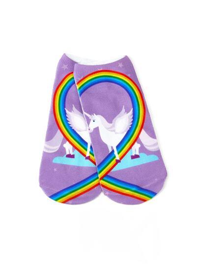 Calcetines con unicornio y arco iris