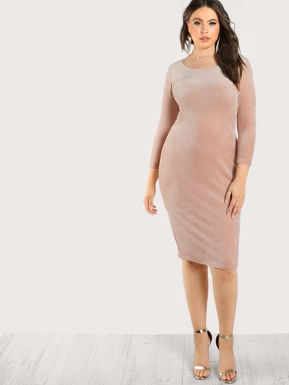 Quarter Sleeve Velvet Dress BLUSH