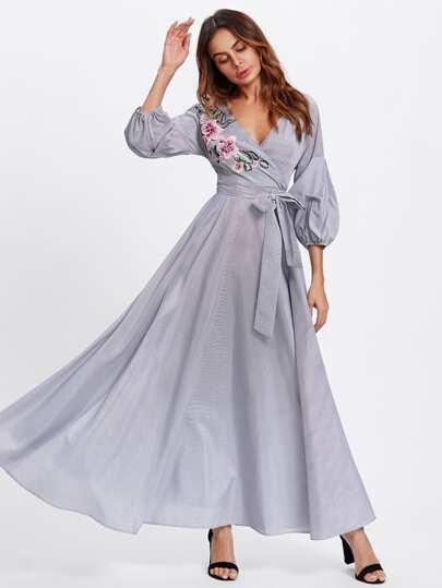 Flower Patch Puff Sleeve Surplice Wrap Dress