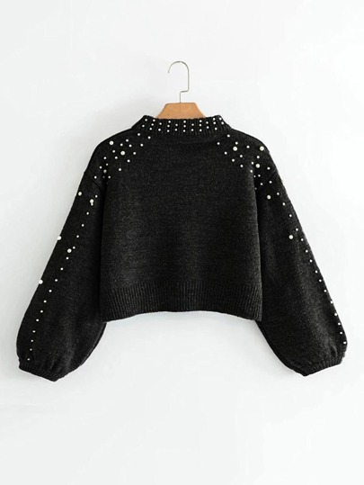 Jersey corto con manga farol y perlas
